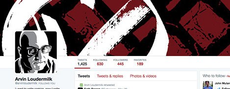 Arvin Loudermilk Twitter header. Red and black graphic background with white V and circle. Author's graphic portrait in the corner.