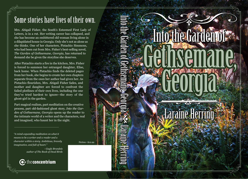 "Wrap around cover for ""Into the Garden of Gethsemane, Georgia"". Victorian framing graphics over a photo of lush Southern garden."