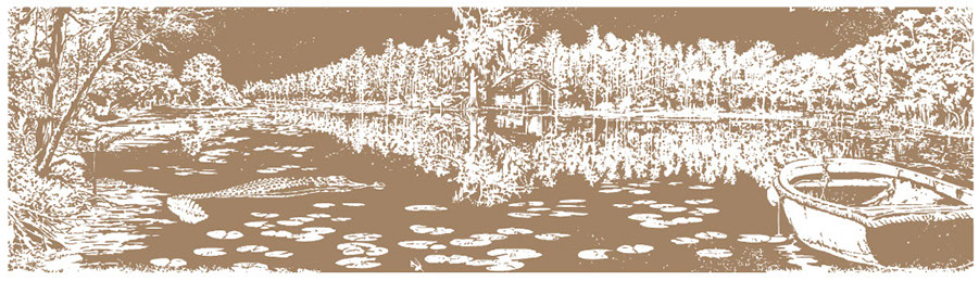 Sepia graphic illustration of swamp. Trees, boat, house and alligator are featured.