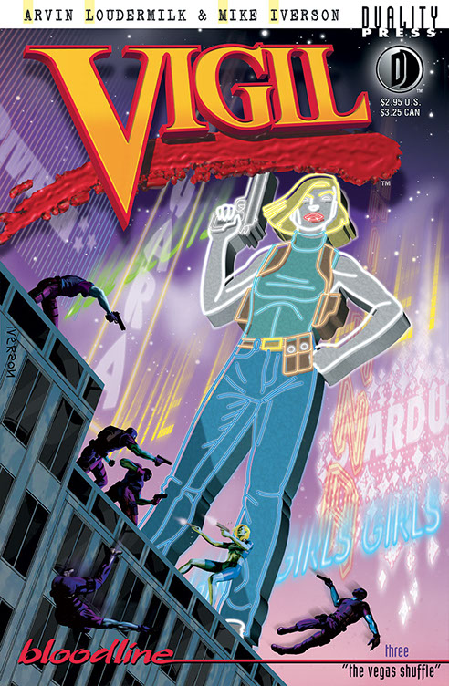 Vigil comic book digital cover. Large neon sign woman holding gun on top of building. Small figures in a gunfight below it. Neon signage montage