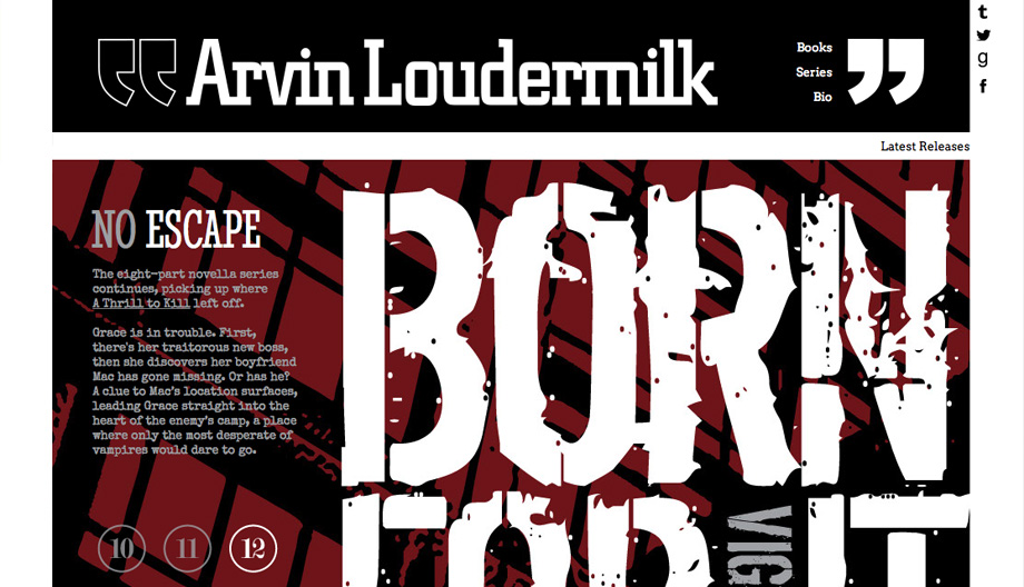 Screen capture of Arvinloudermilk.com home page. Black bar with white logotype at top, read and black ad space below.
