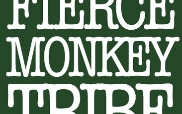 Close-up of Firece Monkey Tribe logo. Green background with rounded serifed white font.